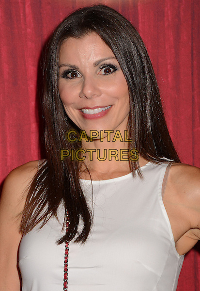 Heather Dubrow<br /> Red carpet premiere of Ringling Bros. and Barnum &amp; Bailey Present &quot;Built to Amaze&quot; at The Staples Center in Los Angeles, CA, USA, <br /> 11th July 2013.<br /> portrait headshot white strap  red bag  cross body<br /> CAP/ADM/BT<br /> &copy;Birdie Thompson/AdMedia/Capital Pictures