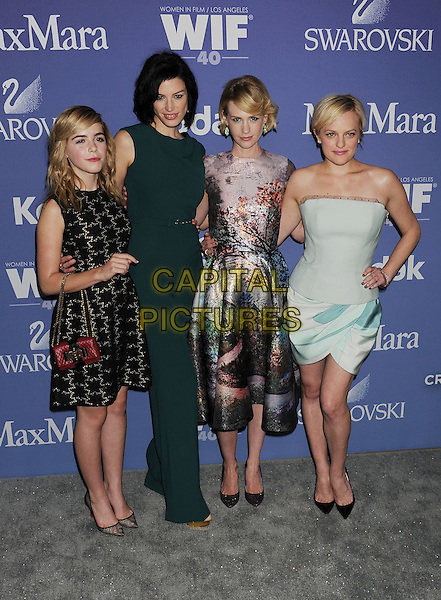 Kiernan Shipka, Jessica Pare, January Jones, Elizabeth Moss of Mad Men <br /> arriving at Women In Film's 2013 Crystal and Lucy Awards at The Beverly Hilton Hotel in Beverly Hills, California, USA, June 12th, 2013.<br /> full length sixties midi mid dress print grey gray green tree landscape purple cast co-stars actresses actors black dress red bag handbag strapless corset blue pastel print catsuit jumpsuit belt <br /> CAP/ROT/TM<br /> &copy;Tony Michaels/Roth Stock/Capital Pictures