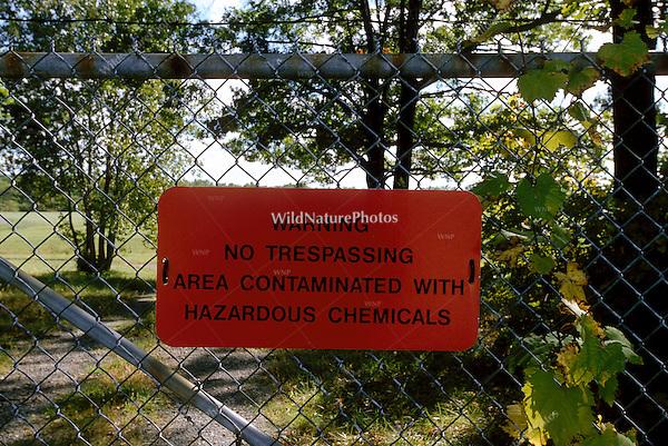 'Contaminated with hazardous chemicals' sign, Michigan City, Indiana
