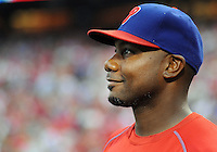 Philadelphia Phillies Ryan Howard looks out onto the field after his final game as a Phillie Sunday October 2, 2016 at Citizens Bank Park in Philadelphia, Pennsylvania. Howard's contract with the Phillies expires after the season and it looks like he will not be back with the team next year. (Photo by William Thomas Cain/Cain Images)