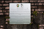 An information plaque on the World War II bunker situated on the hill at the home end at The Oval, Belfast, pictured before Glentoran hosted city-rivals Cliftonville in an NIFL Premiership match. Glentoran, formed in 1892, have been based at The Oval since their formation and are historically one of Northern Ireland's 'big two' football clubs. They had an unprecendentally bad start to the 2016-17 league campaign, but came from behind to win this fixture 2-1, watched by a crowd of 1872.
