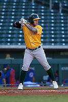 AZL Athletics Gold Enrry Pantoja (18) at bat during an Arizona League game against the AZL Cubs 1 at Sloan Park on June 20, 2019 in Mesa, Arizona. AZL Athletics Gold defeated AZL Cubs 1 21-3. (Zachary Lucy/Four Seam Images)