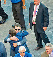 HALLANDALE BEACH, FL - JAN 28: Assistant Trainer Jimmy Barnes hugs Bode Baffert after Arrogate #1, ridden by Mike Smith, won the $12,000,000 Pegasus World Cup Invitational the Pegasus World Cup Invitational Day at Gulfstream Park Race Course on January 28, 2017 in Hallandale Beach, Florida. (Photo by Scott Serio/Eclipse Sportswire/Getty Images)
