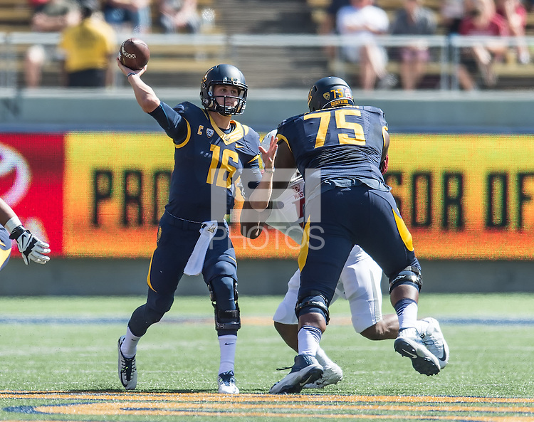 BERKELEY, CA - October 3, 2015: The Cal Bears Football team vs the Washington State Cougars at California Memorial Stadium in Berkeley, California. Final score, Cal Bears 34, Washington St. Cougars 28.