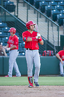 AZL Angels right fielder Francisco Del Valle (4) prepares to bat during a game against the AZL Indians on August 7, 2017 at Tempe Diablo Stadium in Tempe, Arizona. AZL Indians defeated the AZL Angels 5-3. (Zachary Lucy/Four Seam Images)