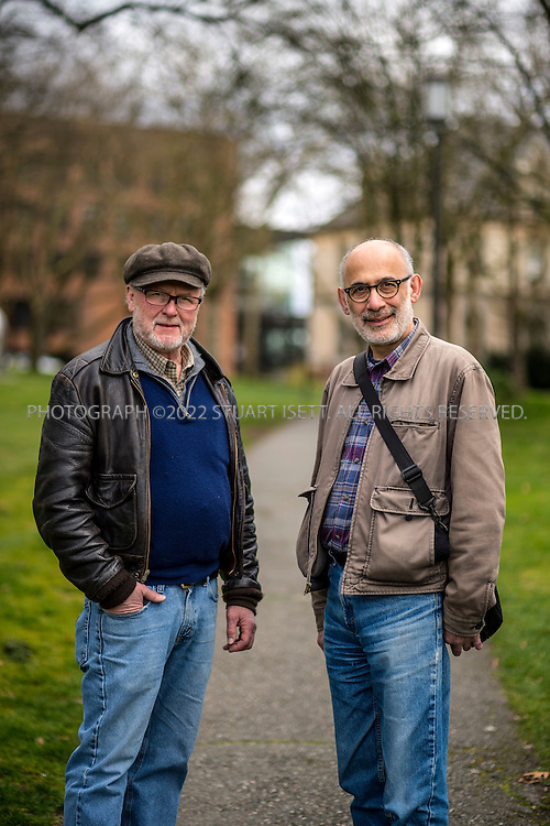 3/24/2015&mdash;Seattle, WA<br /> <br /> Writer Mark Jenkins (left) and director Victor Pappas (right) posing at the University of Washington Drama school. The two men are working on a play about the deportation of Cambodia refugees from the United States titled &lsquo;Red Earth, Gold Gate, Shadow Sky&rsquo;.<br /> <br /> Photograph by Stuart Isett<br /> &copy;2014 Stuart Isett. All rights reserved.