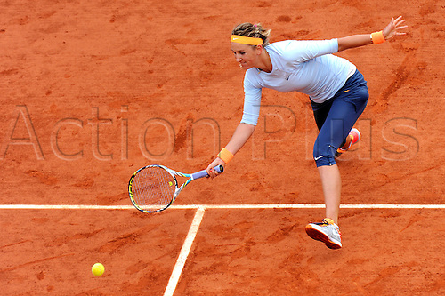 03.06.2013 Paris, France. Victoria Azarenka of Belarus in action during the match between Victoria Azarenka of Belarus and Francesca Schiavone of Italy in the fourth round of the French Open from Roland Garros.