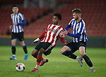 "Liam Baldock of Sheffield Wednesday tackles Ta""Shae Andall-Gibbons of Sheffield Utd during the Professional Development League match at Bramall Lane, Sheffield. Picture date: 26th November 2019. Picture credit should read: Simon Bellis/Sportimage"
