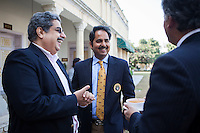 (R-L) Nik Senapati (Rio Tinto Managing Director), Maharaj Narendra Singh (Maharaj of Jaipur) and an unidentified attendee share a light conversation during lunch after a press conference on Oz Fest in Raj Mahal Palace hotel, Jaipur, India on 10th January 2013. Photo by Suzanne Lee/DFAT
