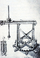 "Technology:  Brunelleschi""s Machines--Lantern-building crane,  drawn by Buonaccorso Ghiberti.  Photo '91.."