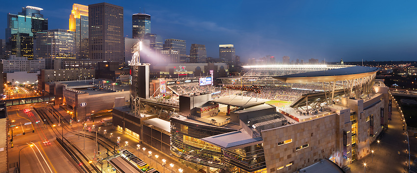 Minneapolis, USA - July 22, 2014: Evening game at Target Field, home of the Minnesota Twins. The Minneapolis skyline provides the backdrop the the stadium.