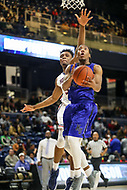 Washington, DC - December 22, 2018: Hampton Pirates guard Kalin Fisher (23) makes a layup during the DC Hoops Fest between Hampton and Howard at  Entertainment and Sports Arena in Washington, DC.   (Photo by Elliott Brown/Media Images International)