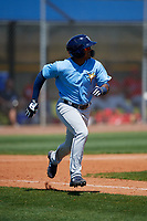 Tampa Bay Rays Wander Franco (4) runs to first base during a Minor League Spring Training game against the Boston Red Sox on March 25, 2019 at the Charlotte County Sports Complex in Port Charlotte, Florida.  (Mike Janes/Four Seam Images)