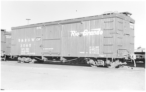 Box car #3585 &quot;Flour, Sugar, and Beans Loading Only.&quot;<br /> D&amp;RGW  Alamosa, CO  Taken by Richardson, Robert W. - 12/1950