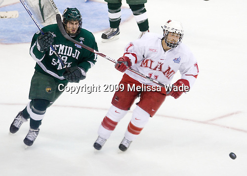 Matt Read (Bemidji State - 19), Carter Camper (Miami - 11) - The Miami University RedHawks defeated the Bemidji State University Beavers 4-1 in their 2009 Frozen Four Semi-Final match on Thursday, April 9, 2009 at the Verizon Center in Washington, DC.
