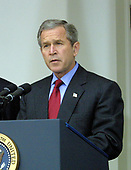 """United States President George W. Bush announces his intention to withdraw the US from the 1972 ABM Treaty with the Russian Federation in the Rose Garden of the White House in Washington, DC on December 13, 2001.  He called it a """"Cold War relic"""".<br /> Credit: Ron Sachs / CNP"""