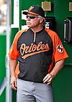 20 May 2012: Baltimore Orioles Manager Buck Showalter watches game action against the Washington Nationals at Nationals Park in Washington, DC. The Nationals defeated the Orioles 9-3 to salvage the third game of their 3-game series. Mandatory Credit: Ed Wolfstein Photo