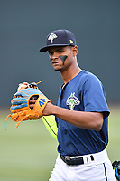 Right fielder Jose Medina (8) of the Columbia Fireflies warms up before a game against the Lakewood BlueClaws on Saturday, May 6, 2017, at Spirit Communications Park in Columbia, South Carolina. Lakewood won, 1-0 with a no-hitter. (Tom Priddy/Four Seam Images)