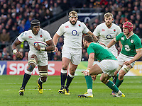 Maro Itoje in action, England v Ireland in a 6 Nations match at Twickenham Stadium, Whitton Road, Twickenham, England, on 27th February 2016