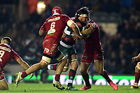 Guy Thompson of Leicester Tigers takes on the Scarlets defence. Heineken Champions Cup match, between Leicester Tigers and the Scarlets on October 19, 2018 at Welford Road in Leicester, England. Photo by: Patrick Khachfe / JMP