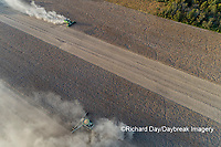 63801-13601 Harvesting soybeans in fall-aerial  Marion Co. IL