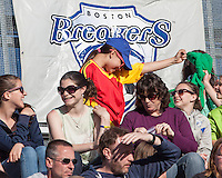 "Breaker's fan react to Neil Diamond's ""Sweet Caroline"" before the game.  In a National Women's Soccer League Elite (NWSL) match, the Boston Breakers defeated  Chicago Red Stars 4-1, at the Dilboy Stadium on May 4, 2013."