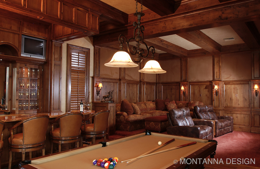 """Man-Cave"" home theater with bar and billiards"
