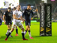 8th February 2020; Murrayfield Sadium, Edinburgh, Scotland; International Six Nations Rugby, Scotland versus England; Ben Earl of England celebrates after the try from Ellis Genge of England