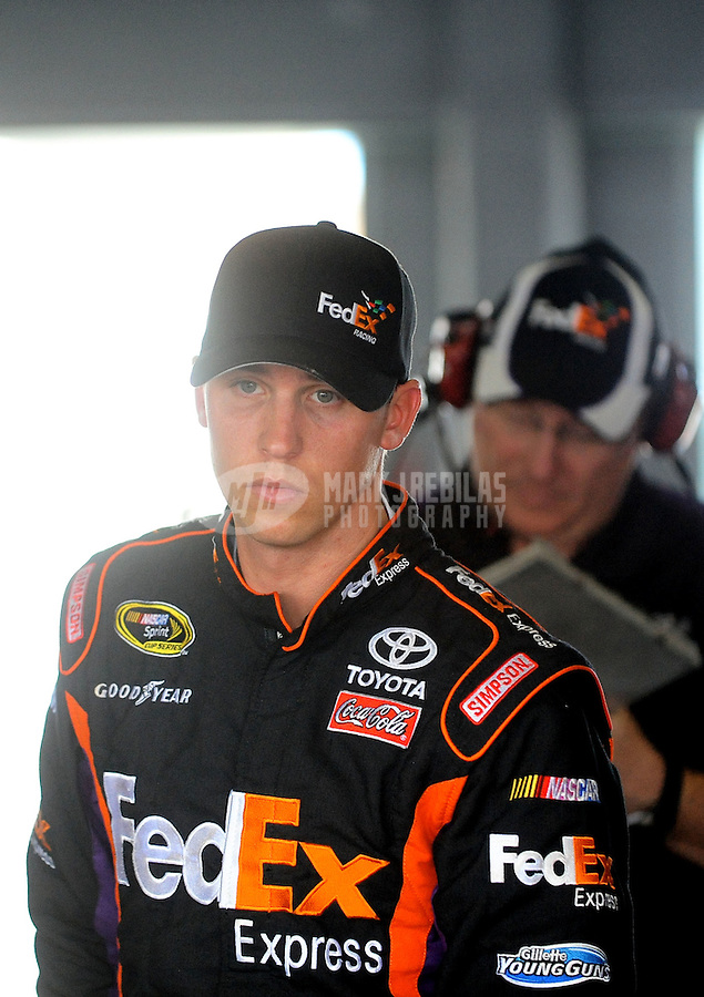 Nov. 19, 2010; Homestead, FL, USA; NASCAR Sprint Cup Series driver Denny Hamlin during practice for the Ford 400 at Homestead Miami Speedway. Mandatory Credit: Mark J. Rebilas-
