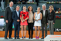 Romanian Simona Halep and Slovakian Dominika Cibulkova during Mutua Madrid Open Tennis 2016 in Madrid, May 07, 2016. (ALTERPHOTOS/BorjaB.Hojas) /NortePhoto.com