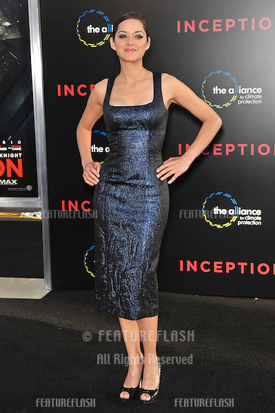 "Marion Cotillard at the Los Angeles premiere of her new movie ""Inception"" at Grauman's Chinese Theatre, Hollywood..July 13, 2010  Los Angeles, CA.Picture: Paul Smith / Featureflash"