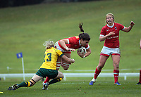 Cindy Nelles is tackled during the 2017 International Women's Rugby Series rugby match between Canada and Australia Wallaroos at Smallbone Park in Rotorua, New Zealand on Saturday, 17 June 2017. Photo: Dave Lintott / lintottphoto.co.nz