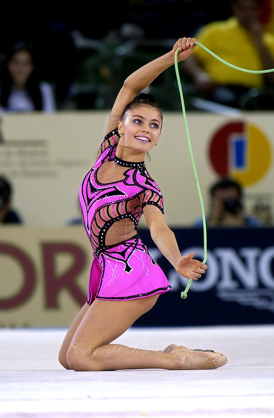 October 21, 2001; Madrid, Spain:  ALINA KABAEVA of Russia performs with rope at 2001 World Championships at Madrid.