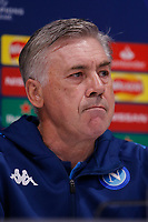 26th November 2019; Anfield, Liverpool, Merseyside, England; UEFA Champions League, Liverpool versus Napoli, Napoli Press Conference; SSC Napoli manager Carlo Ancelotti speaking to the media during today's press conference at Anfield ahead of tomorrow's Champions League group match against Liverpool - Editorial Use