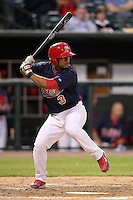 Memphis Redbirds outfielder Donovan Solano #3 during a game versus the Round Rock Express at Autozone Park on April 28, 2011 in Memphis, Tennessee.  Memphis defeated Round Rock by the score of 6-5 in ten innings.  Photo By Mike Janes/Four Seam Images