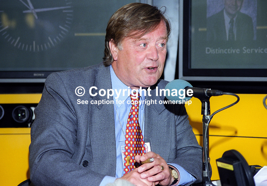 Kenneth Clarke, MP, Conservative Party, UK, on the BBC World at One stand at his party's annual conference in Blackpool. The interviewer was Nick Clark. 199910071.<br />