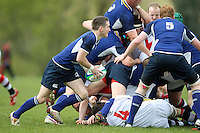 Saturday 12th May 2012  Leinster scrum half Gavin Kennedy gets the ball away during the Junior Inter-provincial between Ulster and Leinster at the Glynn, Larne, Count Antrim.<br /> <br /> Photo Credit - John Dickson / DICKSONDIGITAL