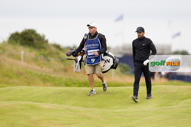 Joel Stalter (FRA) on the 18th during round 2 of the Aberdeen Asset Management Scottish Open 2017, Dundonald Links, Troon, Ayrshire, Scotland. 14/07/2017.<br /> Picture Fran Caffrey / Golffile.ie<br /> <br /> All photo usage must carry mandatory copyright credit (&copy; Golffile | Fran Caffrey)