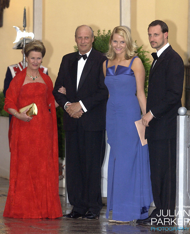 King Harald, Queen Sonja, Crown Prince Haakon & Crown Princess Mette-Marit of Norway attend a Gala Dinner at the El Pardo Royal Palace in Madrid..Picture: UK Press