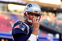 August 9, 2018: New England Patriots quarterback Tom Brady (12) warms up prior to the NFL pre-season football game between the Washington Redskins and the New England Patriots at Gillette Stadium, in Foxborough, Massachusetts.The Patriots defeat the Redskins 26-17. Eric Canha/CSM