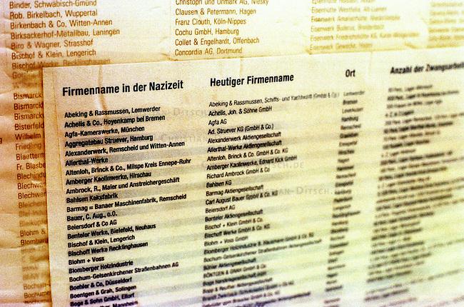 Eine Liste mit hunderten von Namen von Firmen, die in der Zeit des Nationalsozialismus Zwangsarbeiter beschaeftigt haben haeng am Bauzaun zum Bauplatz fuer das Mahnmal fuer die ermordeten Juden in Europa in Berlin-Mitte, nahe dem Brandenburger Tor. <br /> 5.1.2000, Berlin<br /> Copyright: Christian-Ditsch.de<br /> [Inhaltsveraendernde Manipulation des Fotos nur nach ausdruecklicher Genehmigung des Fotografen. Vereinbarungen ueber Abtretung von Persoenlichkeitsrechten/Model Release der abgebildeten Person/Personen liegen nicht vor. NO MODEL RELEASE! Nur fuer Redaktionelle Zwecke. Don't publish without copyright Christian-Ditsch.de, Veroeffentlichung nur mit Fotografennennung, sowie gegen Honorar, MwSt. und Beleg. Konto: I N G - D i B a, IBAN DE58500105175400192269, BIC INGDDEFFXXX, Kontakt: post@christian-ditsch.de<br /> Bei der Bearbeitung der Dateiinformationen darf die Urheberkennzeichnung in den EXIF- und  IPTC-Daten nicht entfernt werden, diese sind in digitalen Medien nach &sect;95c UrhG rechtlich gesch&uuml;tzt. Der Urhebervermerk wird gemaess &sect;13 UrhG verlangt.]