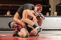 STANFORD, CA - January 18, 2015: Zach Nevills of the Stanford Cardinal wrestling team competes during a meet against Air Force Falcons at Maples Pavilion. Stanford won 27-8.