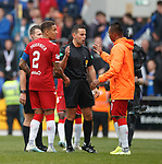 22.09.2019 St Johnstone v Rangers: Alfredo Morelos comes onto the park to shake hands with referee Andrew Dallas at full time