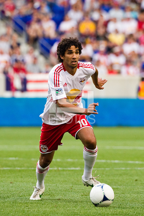 Mehdi Ballouchy (10) of the New York Red Bulls. The New York Red Bulls defeated DC United 3-2 during a Major League Soccer (MLS) match at Red Bull Arena in Harrison, NJ, on June 24, 2012.