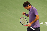 SHANGHAI, CHINA - OCTOBER 15:  Roger Federer of Switzerland celebrates match point to Robin Soderling of Sweden during day five of the 2010 Shanghai Rolex Masters at the Shanghai Qi Zhong Tennis Center on October 15, 2010 in Shanghai, China.  (Photo by Victor Fraile/The Power of Sport Images) *** Local Caption *** Roger Federer