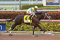 HALLANDALE BEACH, FL - APRIL 01:  #4 Always Dreaming wth jockey John Velazquez on board, wins the Xpressbet Florida Derby (Grade I) at Gulfstream Park on April 01, 2017 in Hallandale Beach, Florida. (Photo by Liz Lamont/Eclipse Sportswire/Getty Images)