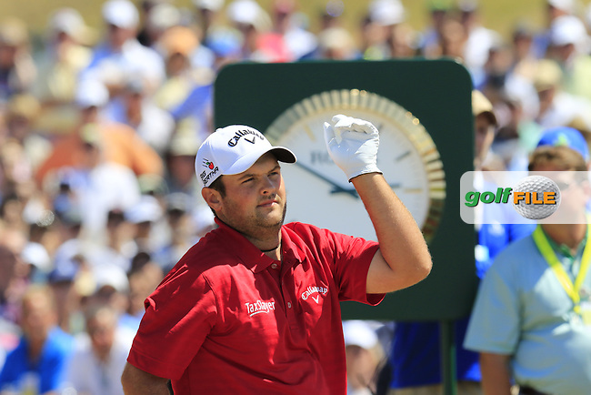 Patrick Reed (USA) on the 1st tee to start his match during Saturday's Round 3 of the 2015 U.S. Open 115th National Championship held at Chambers Bay, Seattle, Washington, USA. 6/20/2015.<br /> Picture: Golffile | Eoin Clarke<br /> <br /> <br /> <br /> <br /> All photo usage must carry mandatory copyright credit (&copy; Golffile | Eoin Clarke)