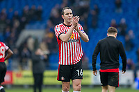 John O'Shea of Sunderland claps the fans at full time of the Sky Bet Championship match between Cardiff City and Sunderland at the Cardiff City Stadium, Cardiff, Wales on 13 January 2018. Photo by Mark  Hawkins / PRiME Media Images.