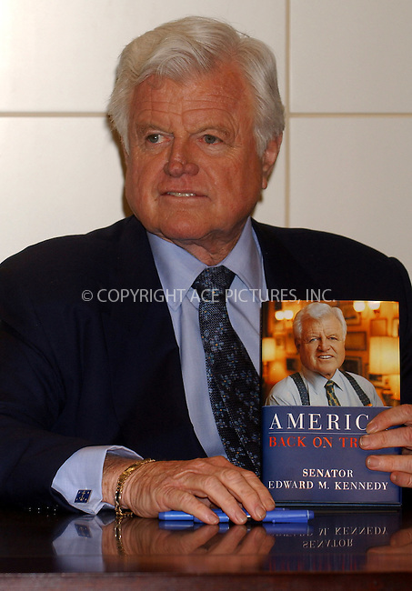 WWW.ACEPIXS.COM . . . . . ....NEW YORK, APRIL 21, 2006....Ted Kennedy signs copies of his new book 'America: Back on Track'.....Please byline: KRISTIN CALLAHAN - ACEPIXS.COM.. . . . . . ..Ace Pictures, Inc:  ..(212) 243-8787 or (646) 679 0430..e-mail: picturedesk@acepixs.com..web: http://www.acepixs.com