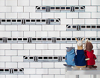 Subway!, a waterjet jewel glass mosaic, shown in Absolute White, Obsidian, and Alabaster, is part of Cean Irminger's second KIDDO Collection, &quot;KIDDO: Wunderkammer Edition.&quot;<br />